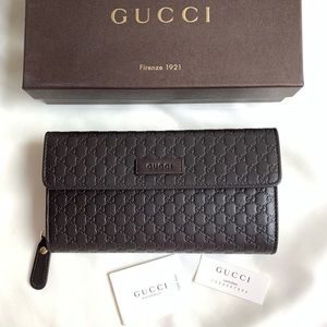 Gucci Leather Micro GG Continental Bifold Wallet